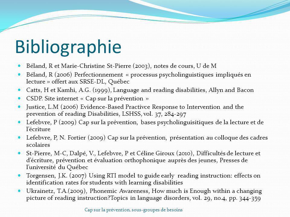 Bibliographie Béland, R et Marie-Christine St-Pierre (2003), notes de cours, U de M Béland, R (2006) Perfectionnement « processus psycholinguistiques