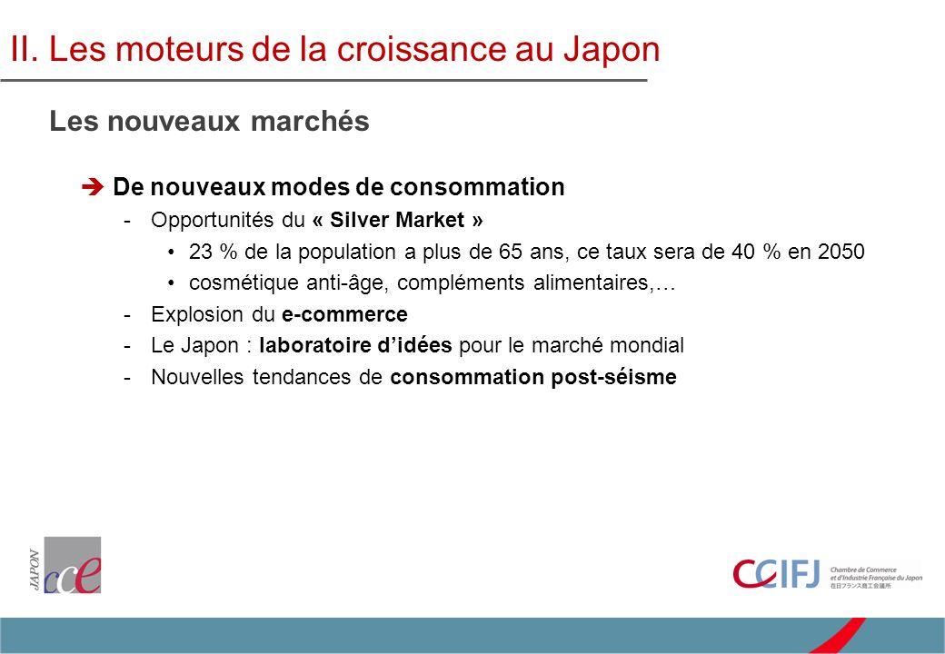 Japon : premier fournisseur de la Chine –78,2 milliards de dollars (1 er semestre 2011) Asie : premier client du Japon –56% des exports réalisés en Asie en 2010 (vs 41% en 2000) V.