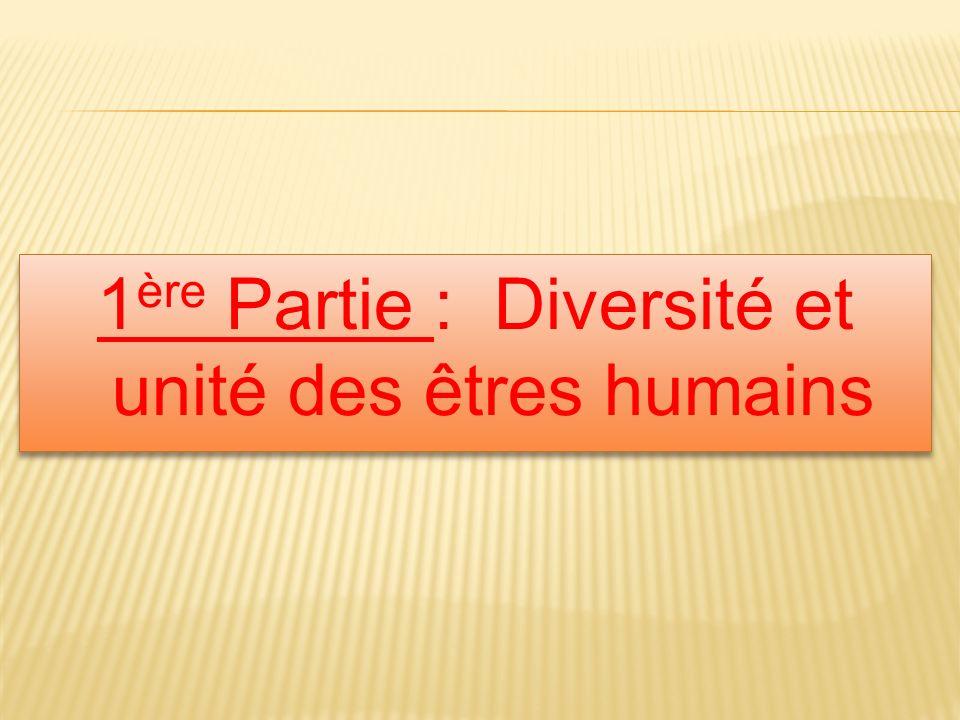 1 ère Partie : Diversité et unité des êtres humains