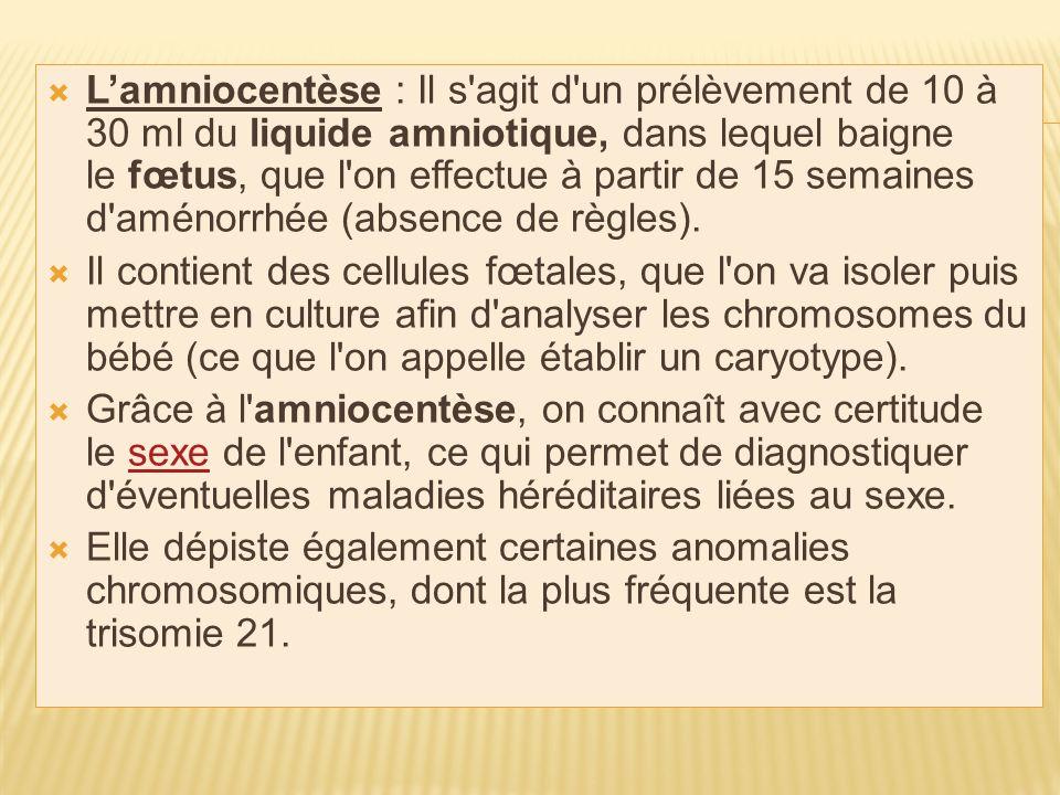 Lamniocentèse : Il s agit d un prélèvement de 10 à 30 ml du liquide amniotique, dans lequel baigne le fœtus, que l on effectue à partir de 15 semaines d aménorrhée (absence de règles).