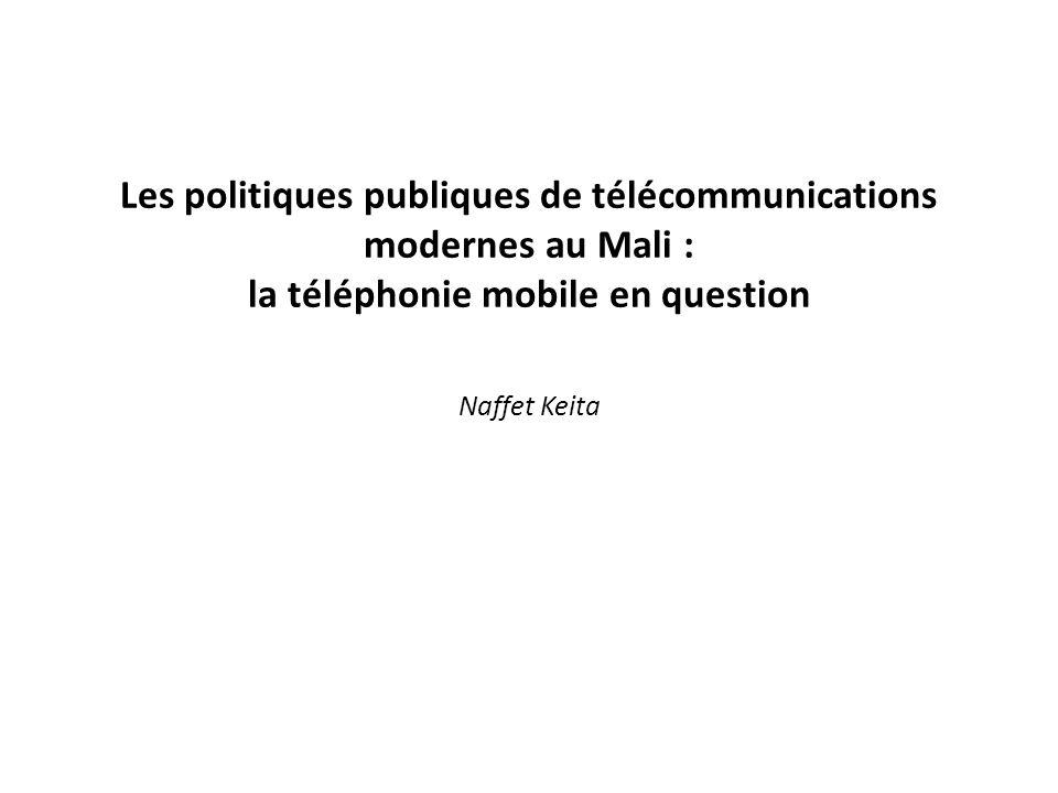 Lhypothèse de travail: à lindépendance, les communications internationales au Mali étaient sous lemprise de lancienne puissance colonisatrice jusquà la réforme qua connu le secteur dans la décennie 80 ; larrivée de la téléphonie mobile a consacré davantage le retour de cette puissance à travers les oligopoles tels France Telecom, Vivendi et Monaco Telecom.