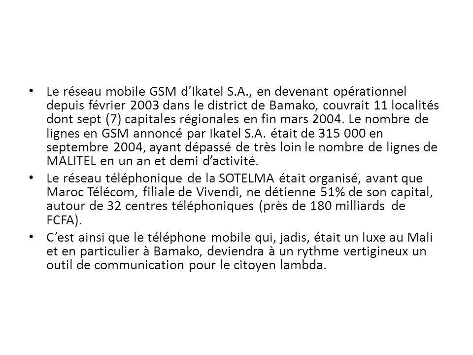 Le réseau mobile GSM dIkatel S.A., en devenant opérationnel depuis février 2003 dans le district de Bamako, couvrait 11 localités dont sept (7) capita