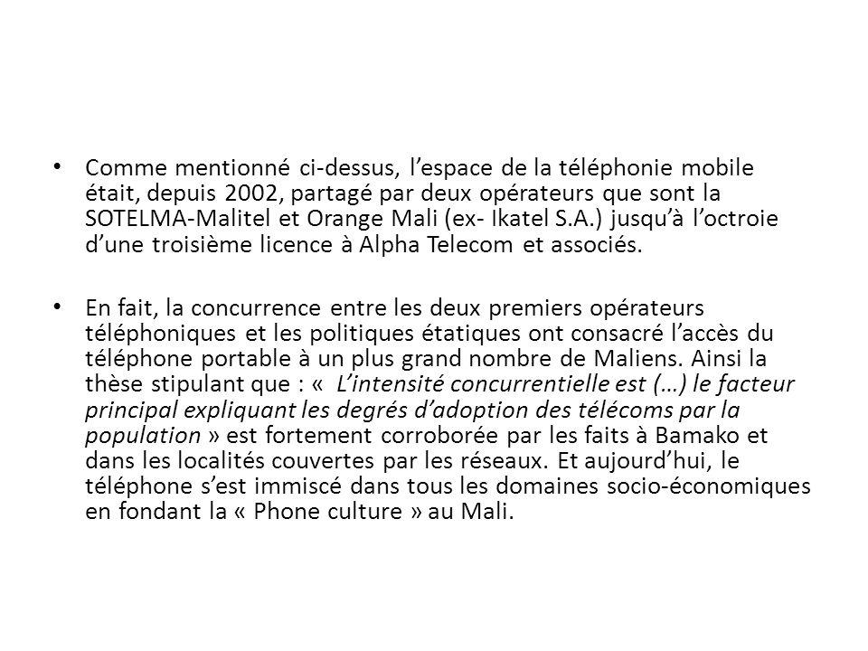 Comme mentionné ci-dessus, lespace de la téléphonie mobile était, depuis 2002, partagé par deux opérateurs que sont la SOTELMA-Malitel et Orange Mali