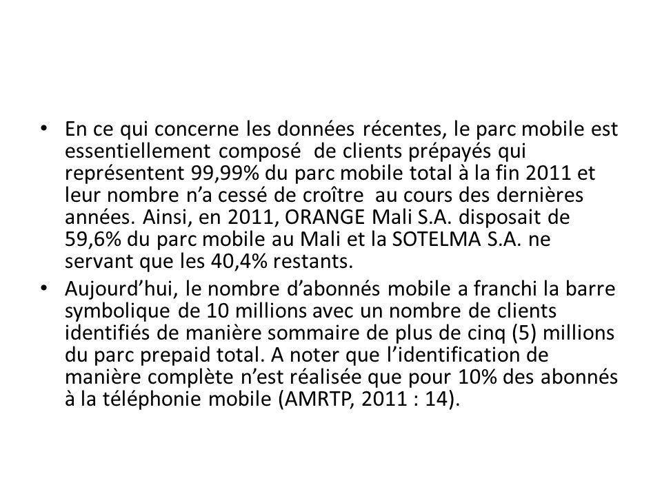 En ce qui concerne les données récentes, le parc mobile est essentiellement composé de clients prépayés qui représentent 99,99% du parc mobile total à