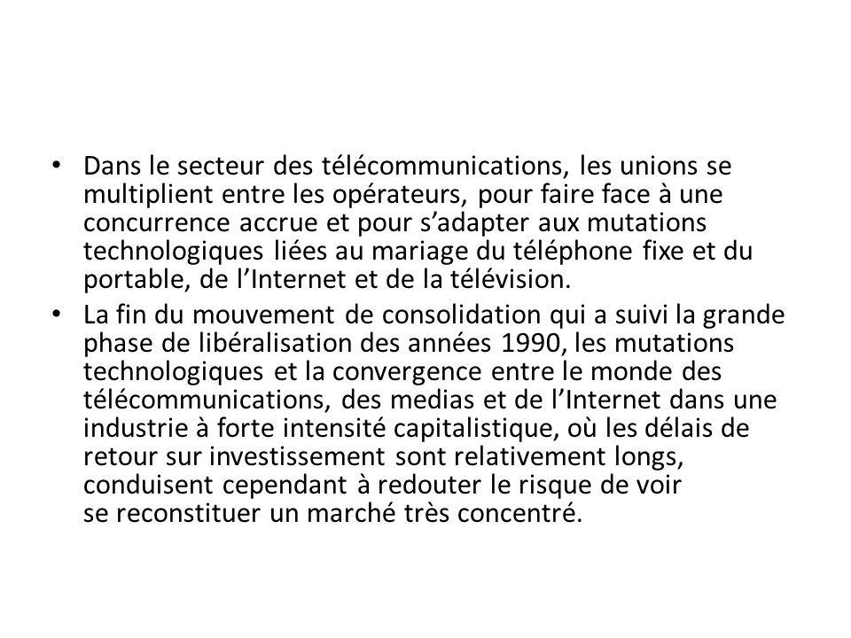 Dans le secteur des télécommunications, les unions se multiplient entre les opérateurs, pour faire face à une concurrence accrue et pour sadapter aux