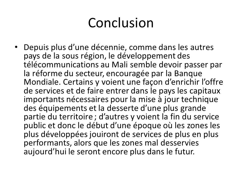 Conclusion Depuis plus dune décennie, comme dans les autres pays de la sous région, le développement des télécommunications au Mali semble devoir pass