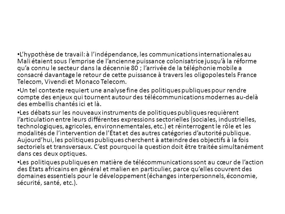 Lhypothèse de travail: à lindépendance, les communications internationales au Mali étaient sous lemprise de lancienne puissance colonisatrice jusquà l