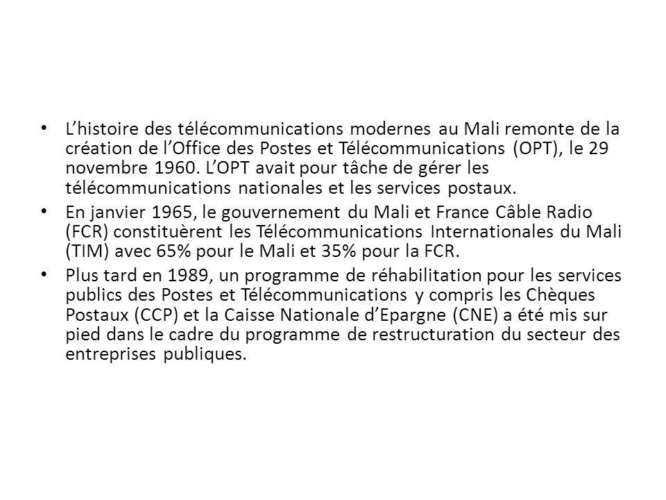 lOffice des Postes et Télécommunications en trois (3) entités distinctes : - la première regroupait les Services de Télécommunications de lex-OPT et la Société des Télécommunications Internationales du Mali (TIM) au sein dune Société dEtat dénommée Société des Télécommunications du Mali (SOTELMA) ; - la deuxième regroupait les Services Postaux au sein de lOffice National des Postes (ONP) ; - la troisième était constituée des Chèques Postaux et de la Caisse dEpargne sous le nom de Société des Chèques Postaux et de la Caisse dEpargne (SCPCE).