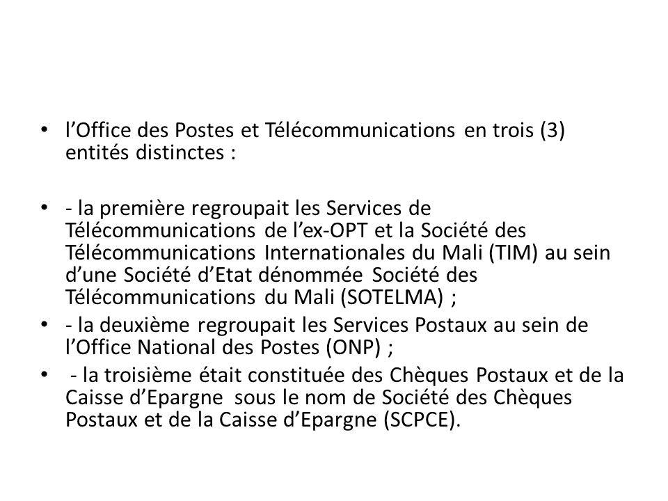 lOffice des Postes et Télécommunications en trois (3) entités distinctes : - la première regroupait les Services de Télécommunications de lex-OPT et l