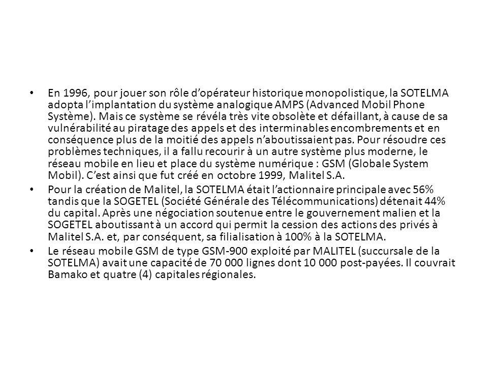 En 1996, pour jouer son rôle dopérateur historique monopolistique, la SOTELMA adopta limplantation du système analogique AMPS (Advanced Mobil Phone Sy