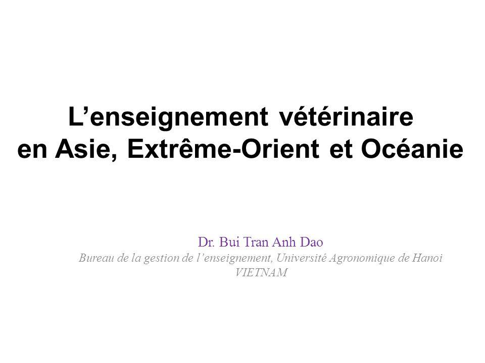 Lenseignement vétérinaire en Asie, Extrême-Orient et Océanie Dr. Bui Tran Anh Dao Bureau de la gestion de lenseignement, Université Agronomique de Han