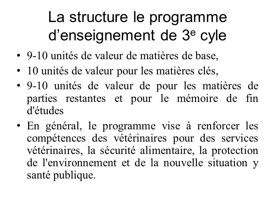 La structure le programme denseignement de 3 e cyle 9-10 unités de valeur de matières de base, 10 unités de valeur pour les matières clés, 9-10 unités
