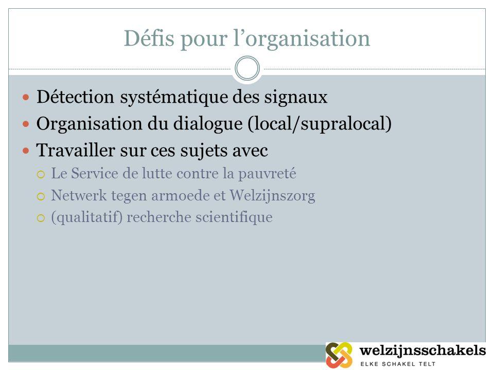 Défis pour lorganisation Détection systématique des signaux Organisation du dialogue (local/supralocal) Travailler sur ces sujets avec Le Service de l