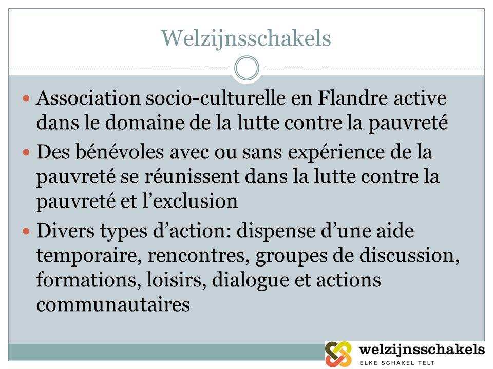 Welzijnsschakels Association socio-culturelle en Flandre active dans le domaine de la lutte contre la pauvreté Des bénévoles avec ou sans expérience d
