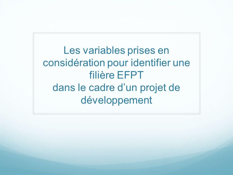 Les variables prises en considération pour identifier une filière EFPT dans le cadre dun projet de développement