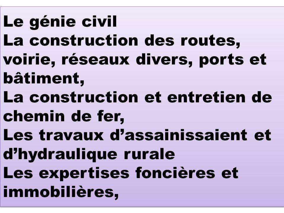 Le génie civil La construction des routes, voirie, réseaux divers, ports et bâtiment, La construction et entretien de chemin de fer, Les travaux dassa