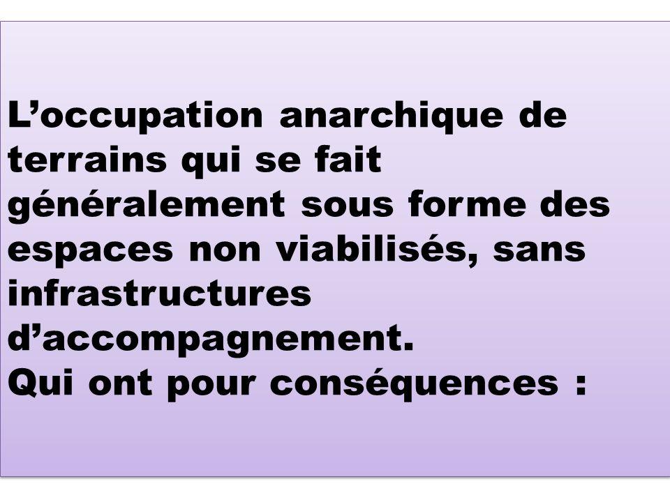 Loccupation anarchique de terrains qui se fait généralement sous forme des espaces non viabilisés, sans infrastructures daccompagnement.