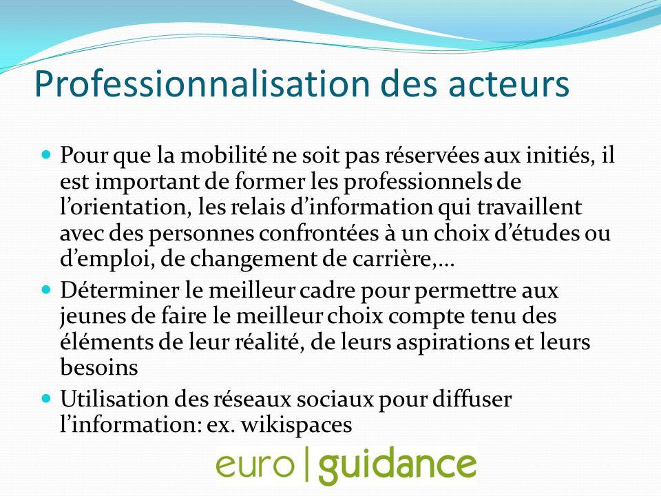 Professionnalisation des acteurs Pour que la mobilité ne soit pas réservées aux initiés, il est important de former les professionnels de lorientation