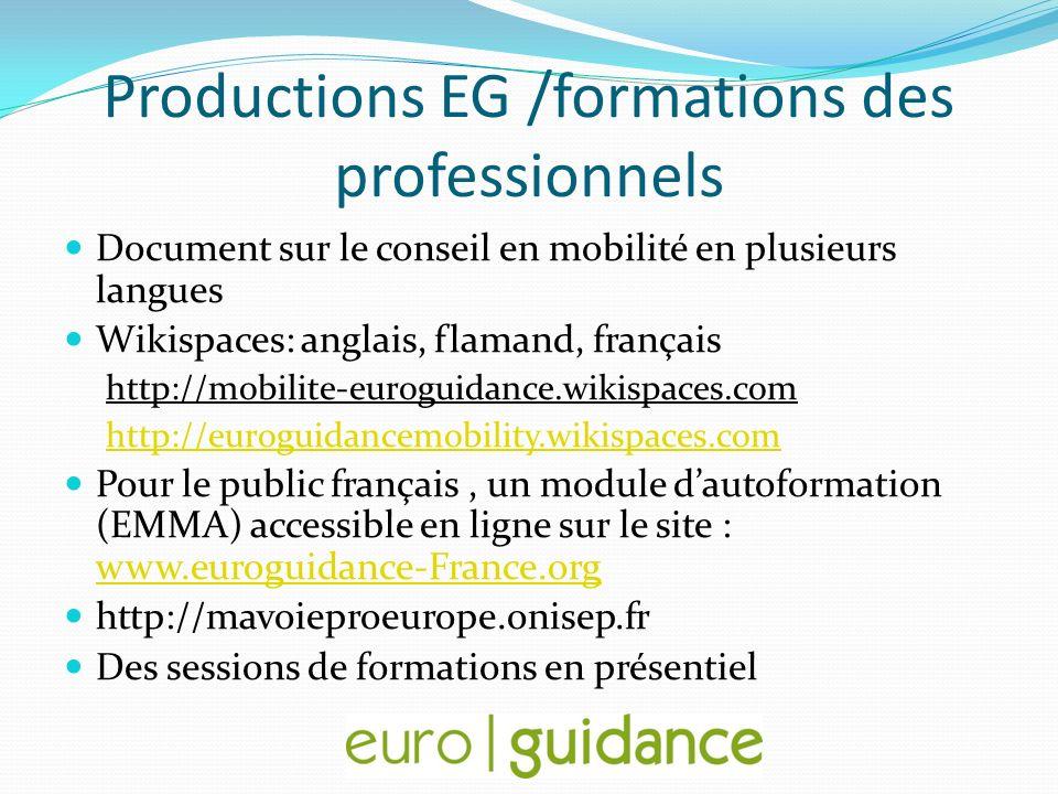 Productions EG /formations des professionnels Document sur le conseil en mobilité en plusieurs langues Wikispaces: anglais, flamand, français http://m