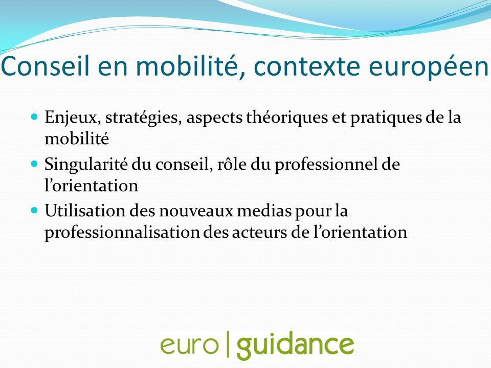 Conseil en mobilité, contexte européen Enjeux, stratégies, aspects théoriques et pratiques de la mobilité Singularité du conseil, rôle du professionne