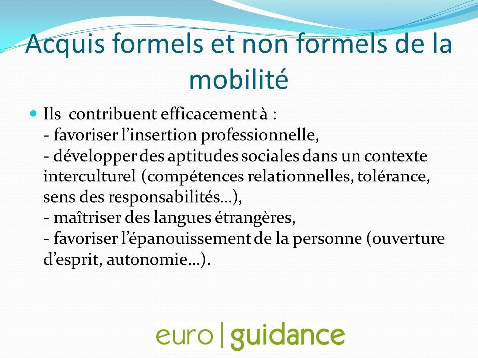 Acquis formels et non formels de la mobilité Ils contribuent efficacement à : - favoriser linsertion professionnelle, - développer des aptitudes socia