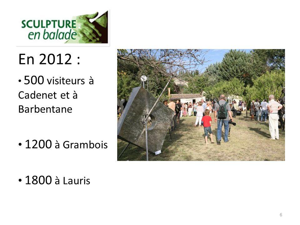 En 2012 : 500 visiteurs à Cadenet et à Barbentane 1200 à Grambois 1800 à Lauris 6