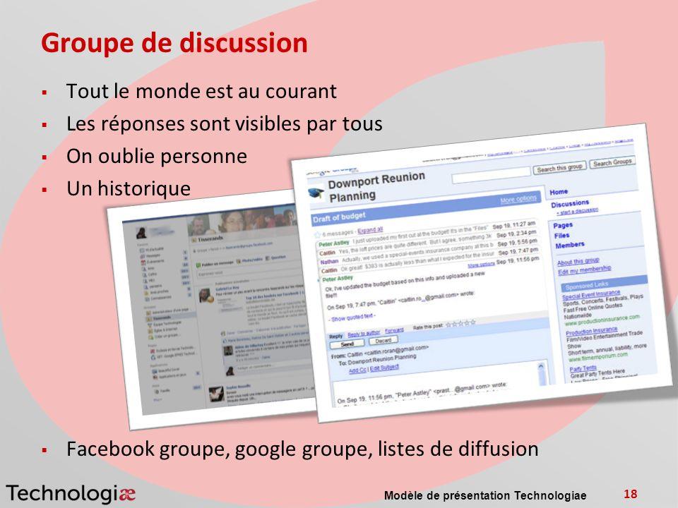 Groupe de discussion Tout le monde est au courant Les réponses sont visibles par tous On oublie personne Un historique Facebook groupe, google groupe,
