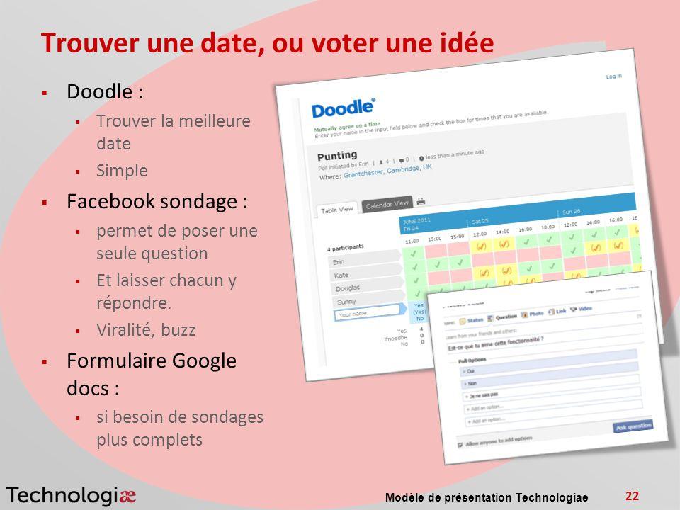 Trouver une date, ou voter une idée Doodle : Trouver la meilleure date Simple Facebook sondage : permet de poser une seule question Et laisser chacun