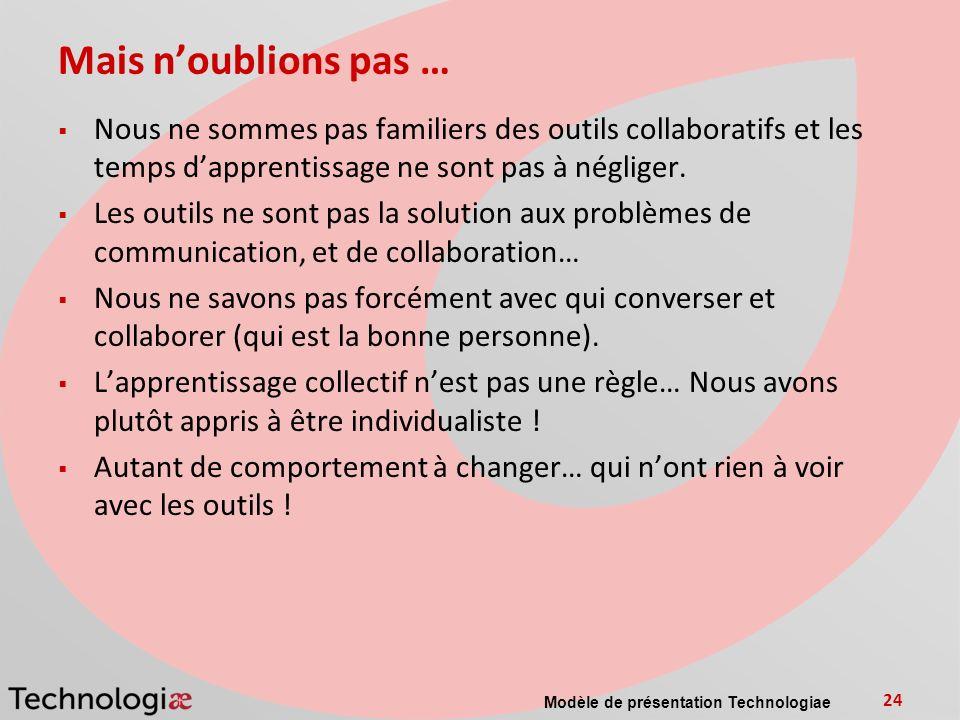 Modèle de présentation Technologiae 24 Mais noublions pas … Nous ne sommes pas familiers des outils collaboratifs et les temps dapprentissage ne sont pas à négliger.