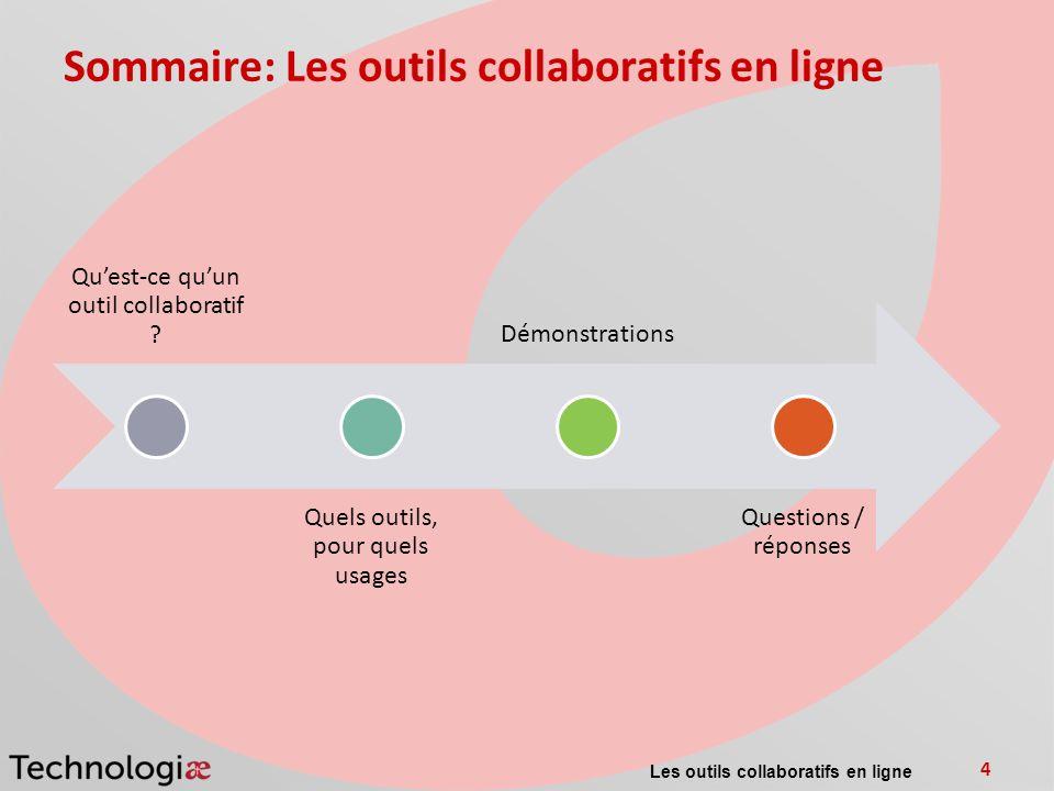 Sommaire: Les outils collaboratifs en ligne Quest-ce quun outil collaboratif ? Quels outils, pour quels usages Démonstrations Questions / réponses Les