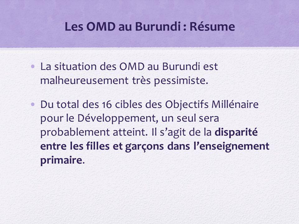 Les OMD au Burundi : Résume La situation des OMD au Burundi est malheureusement très pessimiste.