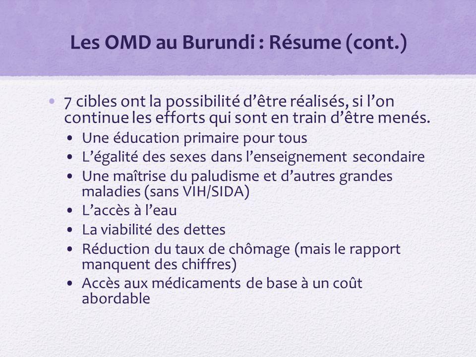 Les OMD au Burundi : Résume (cont.) 7 cibles ont la possibilité dêtre réalisés, si lon continue les efforts qui sont en train dêtre menés.