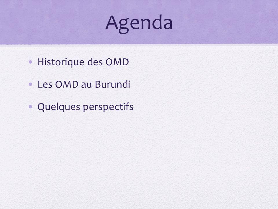 Agenda Historique des OMD Les OMD au Burundi Quelques perspectifs