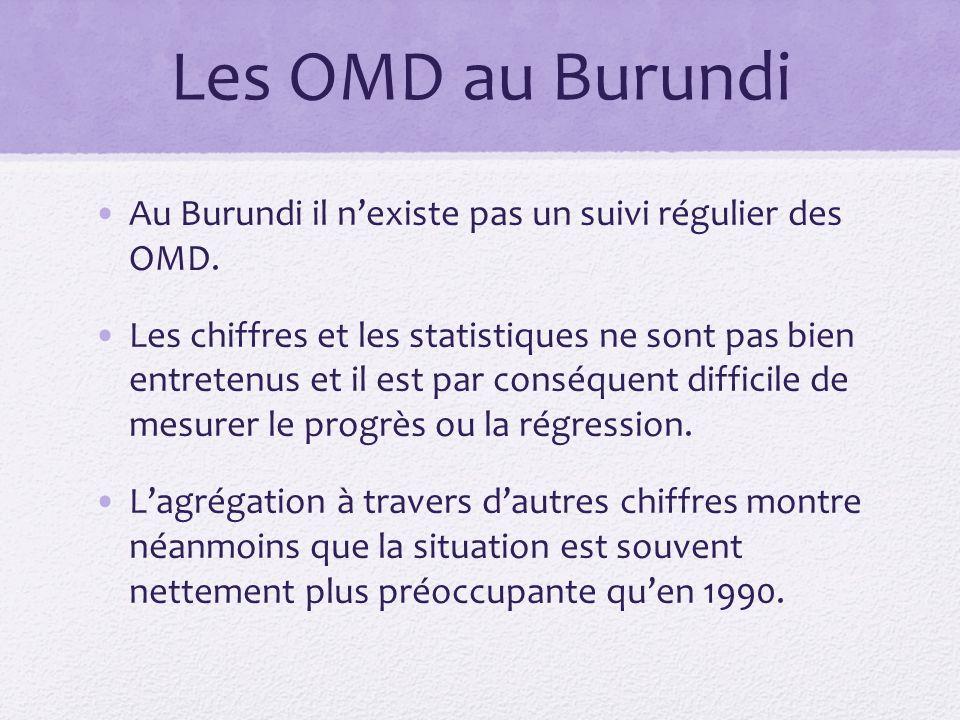 Les OMD au Burundi Au Burundi il nexiste pas un suivi régulier des OMD.