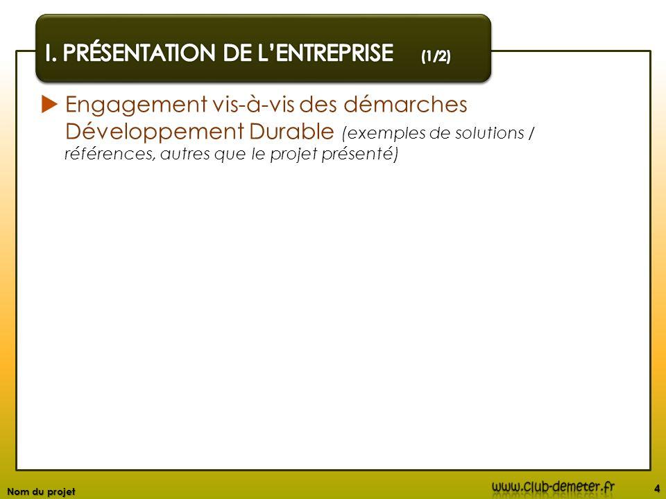 Engagement vis-à-vis des démarches Développement Durable (exemples de solutions / références, autres que le projet présenté) 4 Nom du projet