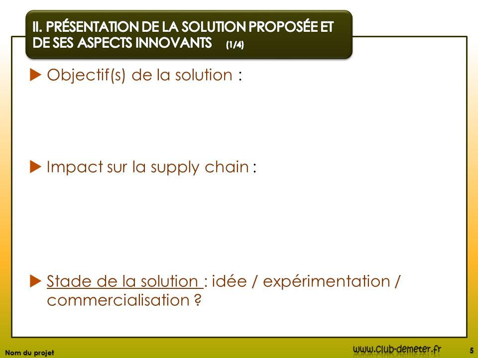 Objectif(s) de la solution : Impact sur la supply chain : Stade de la solution : idée / expérimentation / commercialisation ? 5 Nom du projet