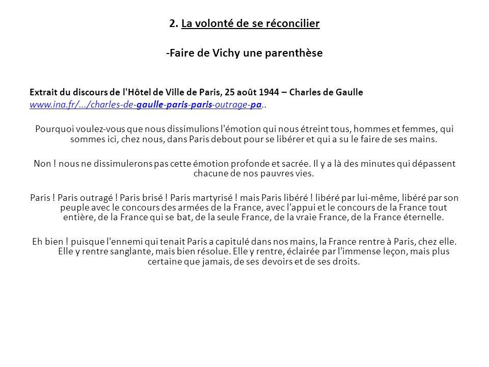 2. La volonté de se réconcilier -Faire de Vichy une parenthèse Extrait du discours de l'Hôtel de Ville de Paris, 25 août 1944 – Charles de Gaulle www.