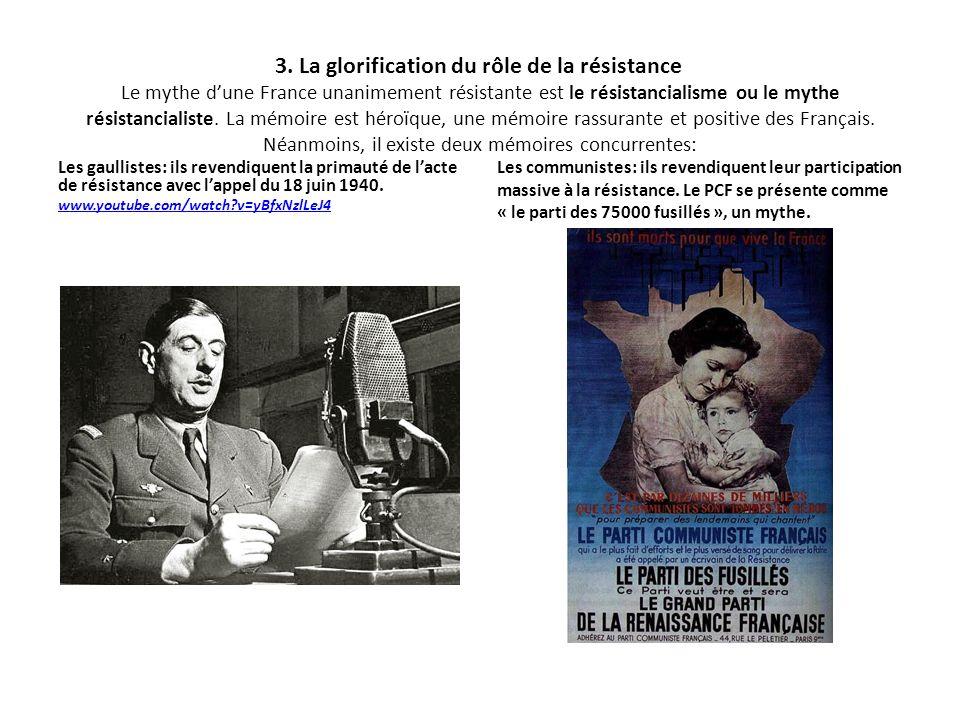 3. La glorification du rôle de la résistance Le mythe dune France unanimement résistante est le résistancialisme ou le mythe résistancialiste. La mémo