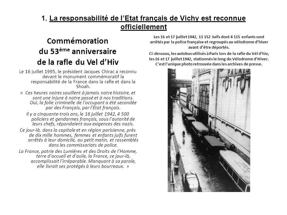 1. La responsabilité de lEtat français de Vichy est reconnue officiellement Commémoration du 53 ème anniversaire de la rafle du Vel dHiv Le 16 juillet