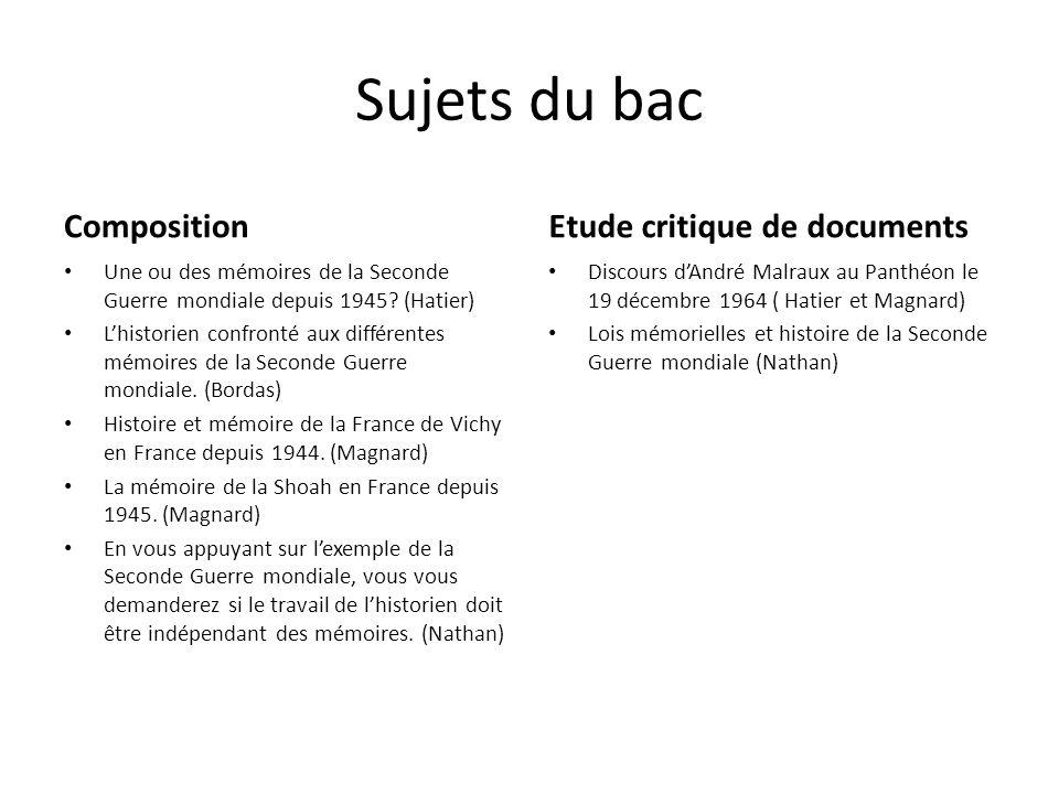 Sujets du bac Composition Une ou des mémoires de la Seconde Guerre mondiale depuis 1945.