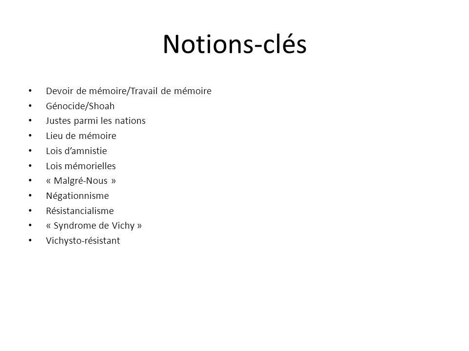 Notions-clés Devoir de mémoire/Travail de mémoire Génocide/Shoah Justes parmi les nations Lieu de mémoire Lois damnistie Lois mémorielles « Malgré-Nou