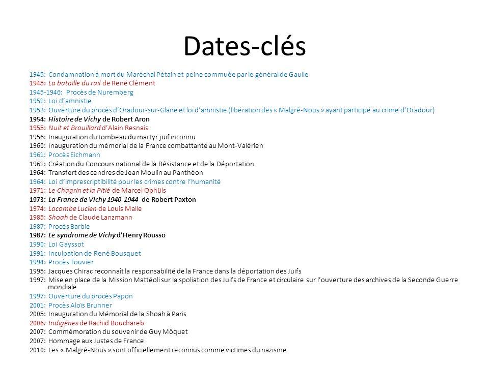 Dates-clés 1945: Condamnation à mort du Maréchal Pétain et peine commuée par le général de Gaulle 1945: La bataille du rail de René Clément 1945-1946: Procès de Nuremberg 1951: Loi damnistie 1953: Ouverture du procès dOradour-sur-Glane et loi damnistie (libération des « Malgré-Nous » ayant participé au crime dOradour) 1954: Histoire de Vichy de Robert Aron 1955: Nuit et Brouillard dAlain Resnais 1956: Inauguration du tombeau du martyr juif inconnu 1960: Inauguration du mémorial de la France combattante au Mont-Valérien 1961: Procès Eichmann 1961: Création du Concours national de la Résistance et de la Déportation 1964: Transfert des cendres de Jean Moulin au Panthéon 1964: Loi dimprescriptibilité pour les crimes contre lhumanité 1971: Le Chagrin et la Pitié de Marcel Ophüls 1973: La France de Vichy 1940-1944 de Robert Paxton 1974: Lacombe Lucien de Louis Malle 1985: Shoah de Claude Lanzmann 1987: Procès Barbie 1987: Le syndrome de Vichy dHenry Rousso 1990: Loi Gayssot 1991: Inculpation de René Bousquet 1994: Procès Touvier 1995: Jacques Chirac reconnaît la responsabilité de la France dans la déportation des Juifs 1997: Mise en place de la Mission Mattéoli sur la spoliation des Juifs de France et circulaire sur louverture des archives de la Seconde Guerre mondiale 1997: Ouverture du procès Papon 2001: Procès Aloïs Brunner 2005: Inauguration du Mémorial de la Shoah à Paris 2006: Indigènes de Rachid Bouchareb 2007: Commémoration du souvenir de Guy Môquet 2007: Hommage aux Justes de France 2010: Les « Malgré-Nous » sont officiellement reconnus comme victimes du nazisme