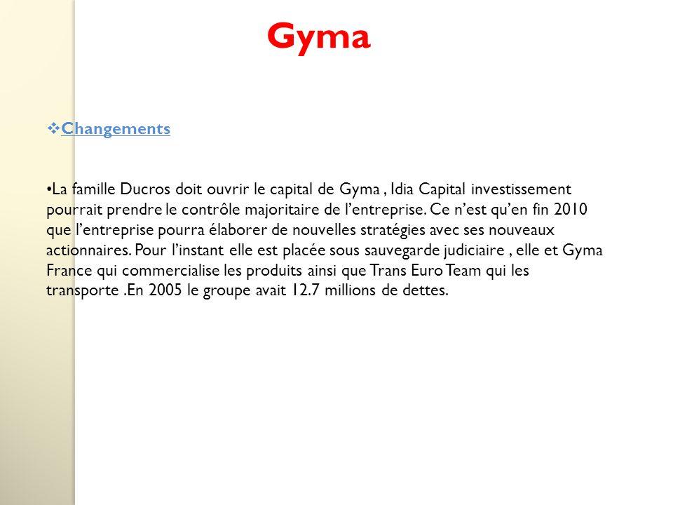 Gyma Changements La famille Ducros doit ouvrir le capital de Gyma, Idia Capital investissement pourrait prendre le contrôle majoritaire de lentreprise.