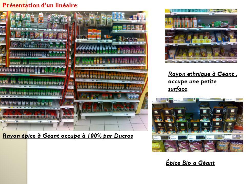 Présentation dun linéaire Rayon épice à Géant occupé à 100% par Ducros Rayon ethnique à Géant, occupe une petite surface.