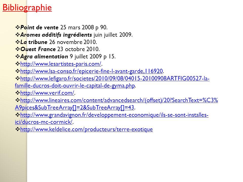 Bibliographie Point de vente 25 mars 2008 p 90. Aromes additifs ingrédients juin juillet 2009.