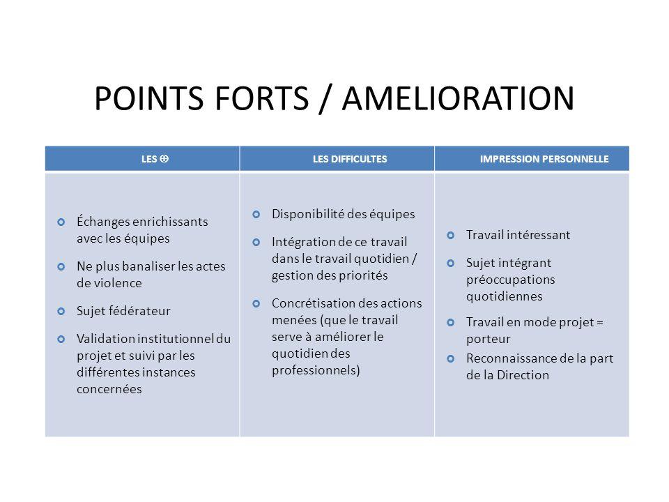 POINTS FORTS / AMELIORATION LES LES DIFFICULTES IMPRESSION PERSONNELLE Échanges enrichissants avec les équipes Ne plus banaliser les actes de violence
