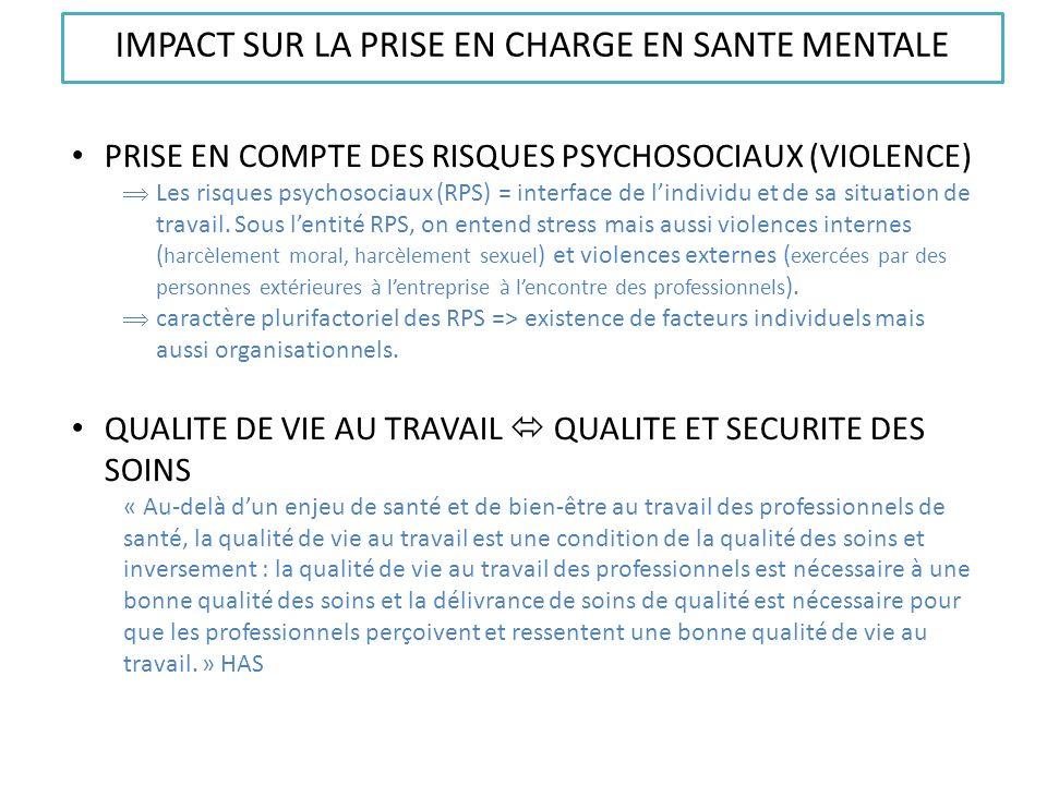 IMPACT SUR LA PRISE EN CHARGE EN SANTE MENTALE PRISE EN COMPTE DES RISQUES PSYCHOSOCIAUX (VIOLENCE) Les risques psychosociaux (RPS) = interface de lin