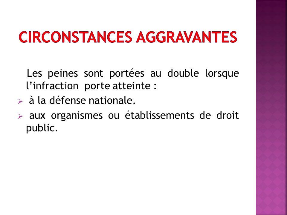 Les peines sont portées au double lorsque linfraction porte atteinte : à la défense nationale.