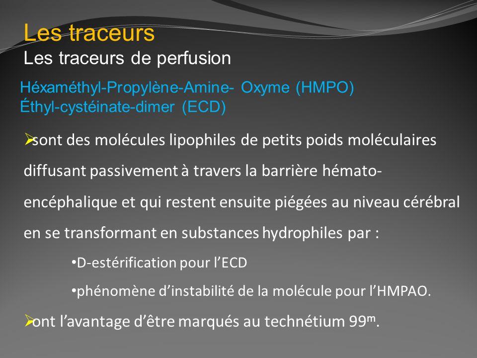 Les traceurs Les traceurs de perfusion Héxaméthyl-Propylène-Amine- Oxyme (HMPO) Éthyl-cystéinate-dimer (ECD) sont des molécules lipophiles de petits p