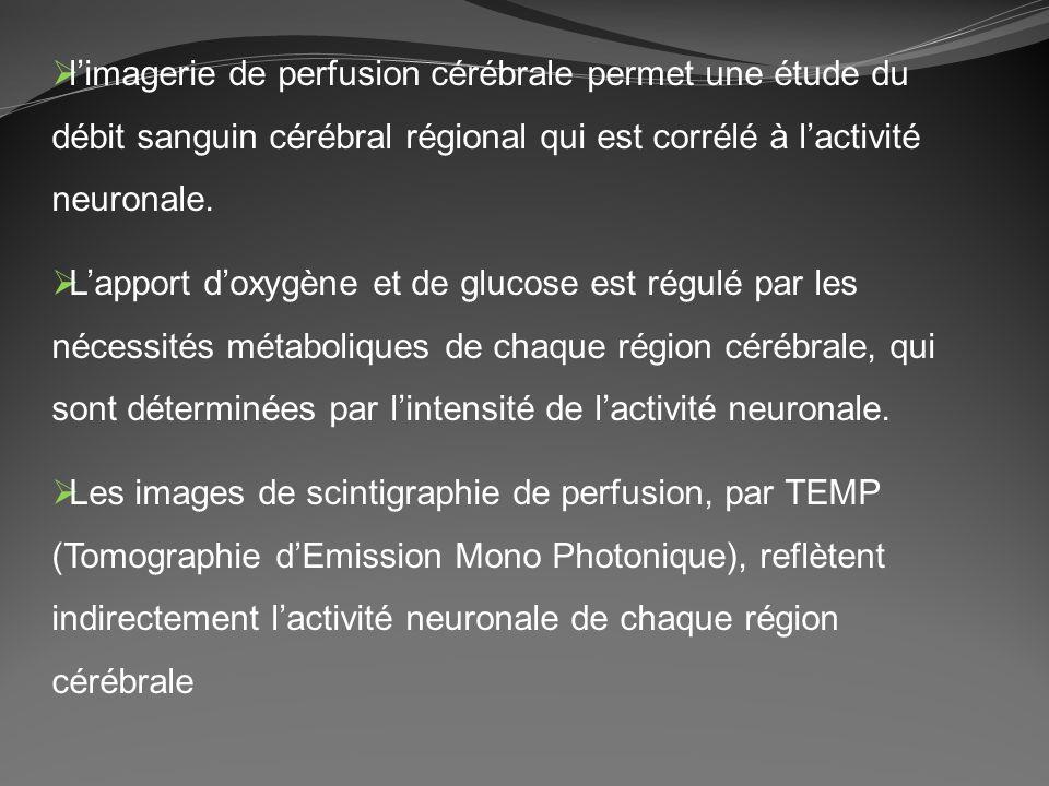 limagerie de perfusion cérébrale permet une étude du débit sanguin cérébral régional qui est corrélé à lactivité neuronale. Lapport doxygène et de glu